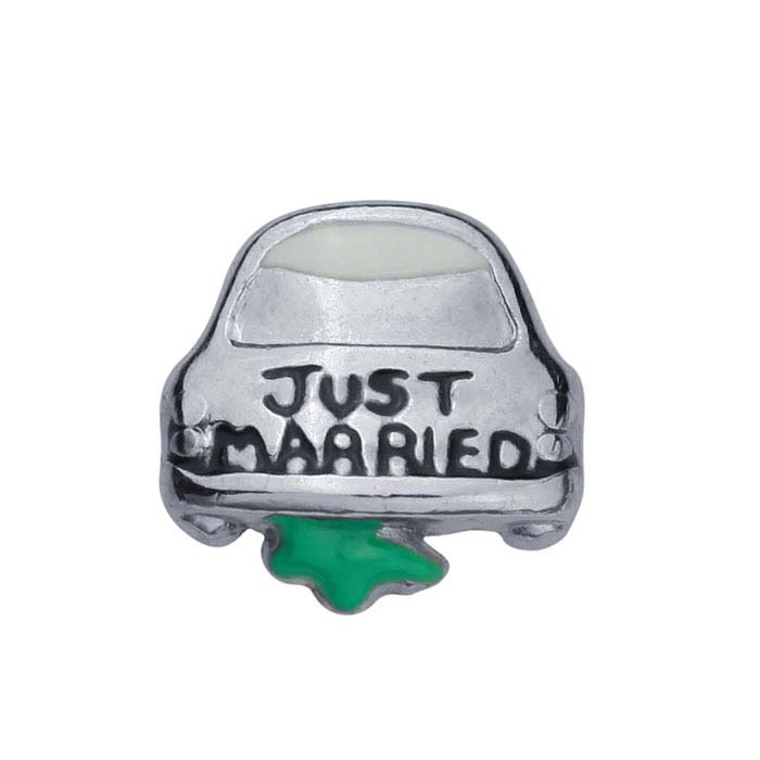 """Base Metal """"Just Married"""" Car Component for Floating Glass Lockets"""