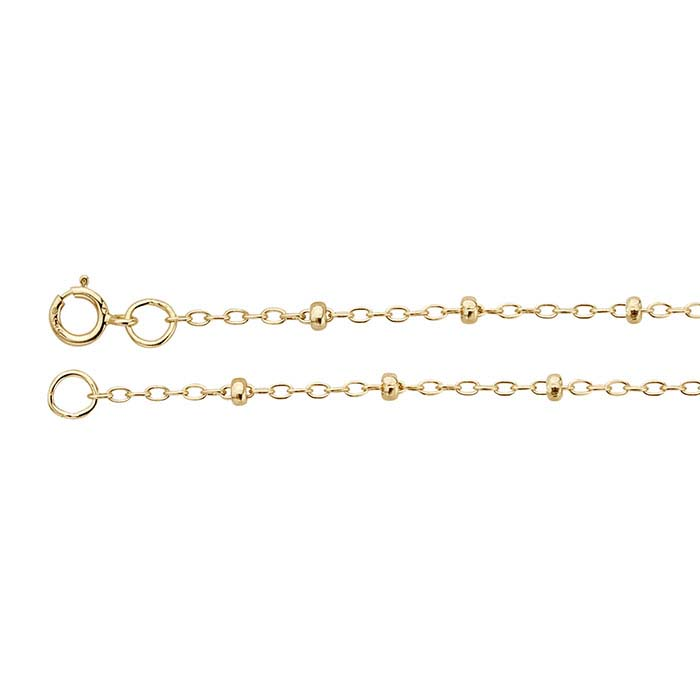 14K Yellow Gold 1.2mm Oval Cable Chains with 2mm Roundel Beads