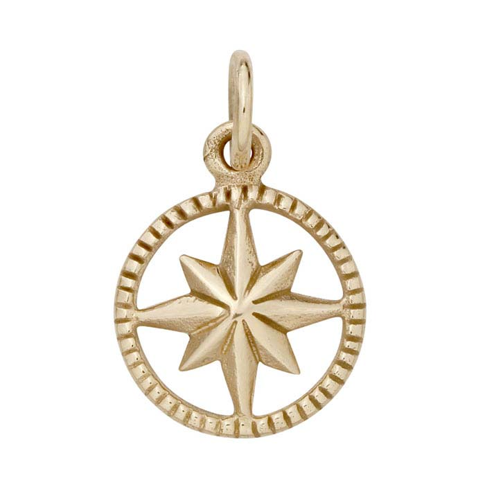 Bronze Compass Rose Starburst Charm