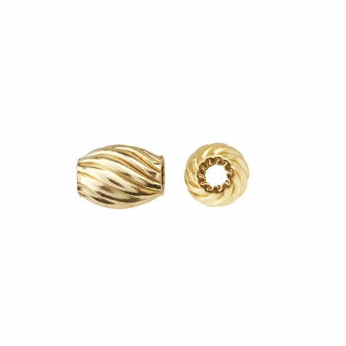 14/20 Yellow Gold-Filled 4.5 x 3.5mm Corrugated Twist Melon Bead