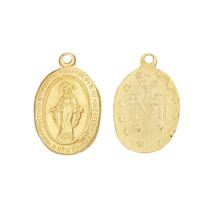 14/20 Yellow Gold-Filled Miraculous Medal Pendant with Ring