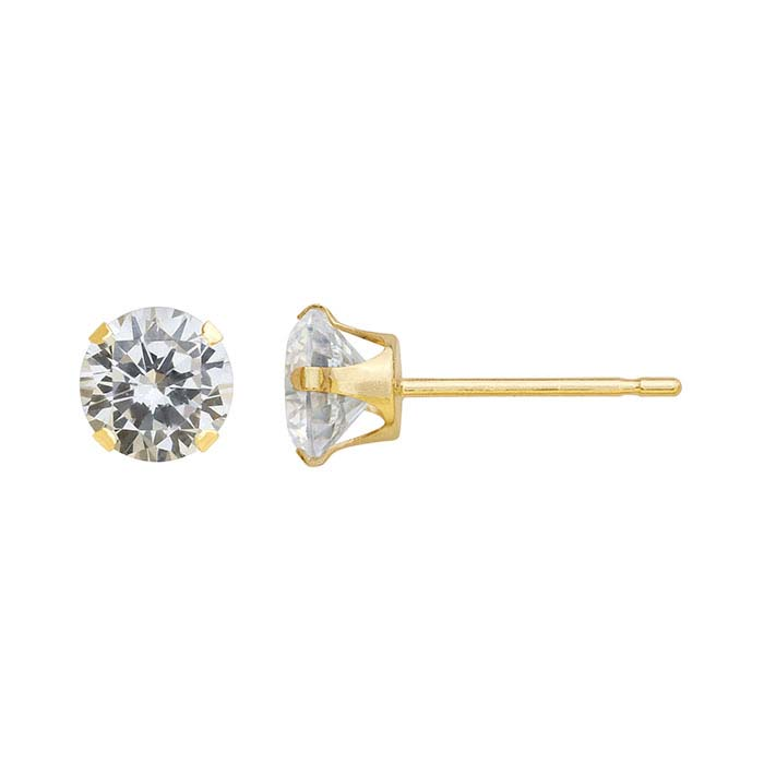 14K Yellow Gold CZ-Set Post Earrings