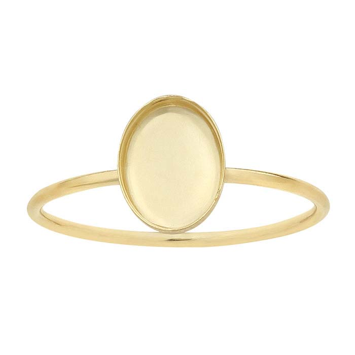 14/20 Yellow Gold-Filled Oval Cabochon Ring Mountings