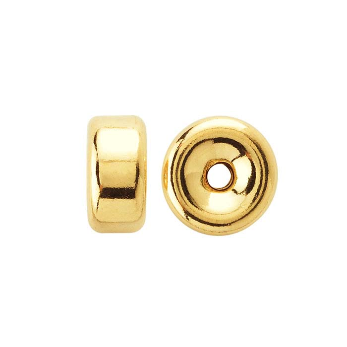 18K Yellow Gold Smooth Roundel Beads