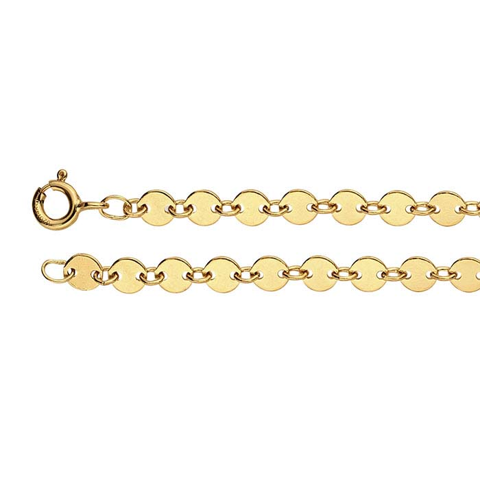 14/20 Yellow Gold-Filled 4.1mm Flat Circle Link Chains