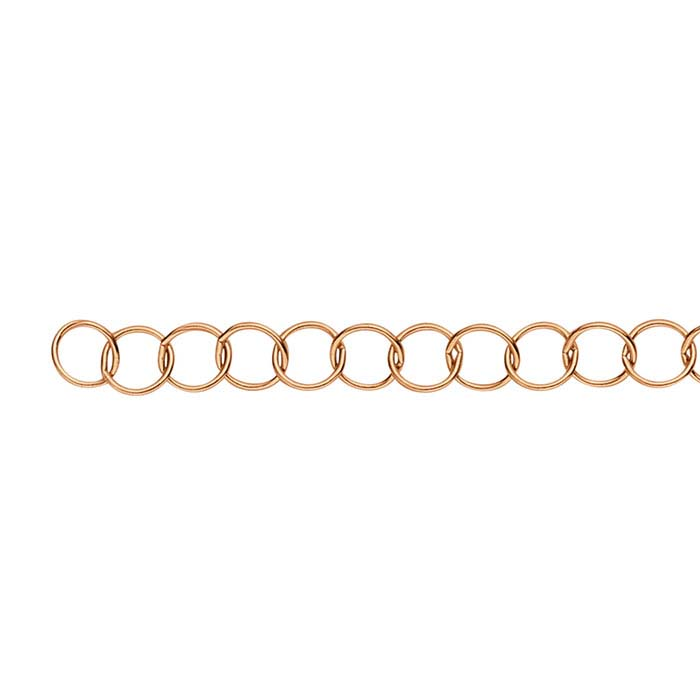 14/20 Rose Gold-Filled 3.5mm Round Cable Chain, By the Foot