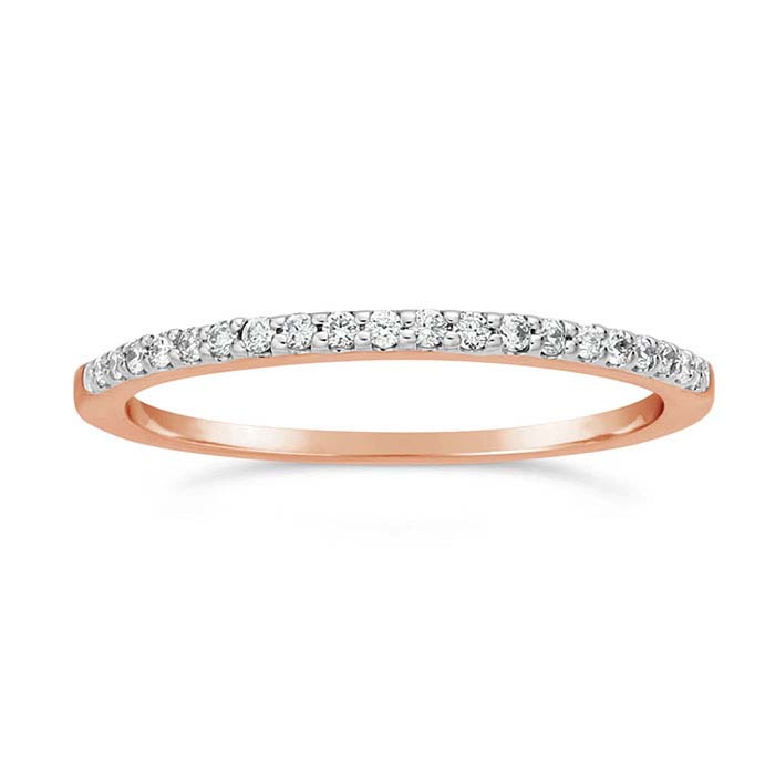 14K Rose Gold Diamond-Set Wedding Band
