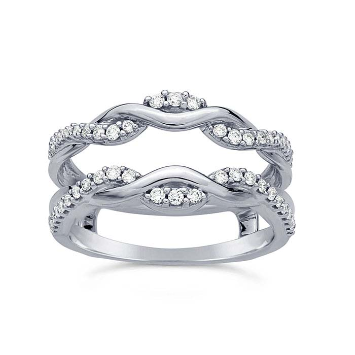 14K White Gold Diamond-Set Twist Wrap Split Shank