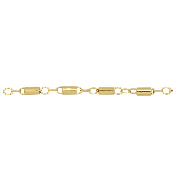 14/20 Yellow Gold-Filled 1.7mm Cable Chain with Tube Beads