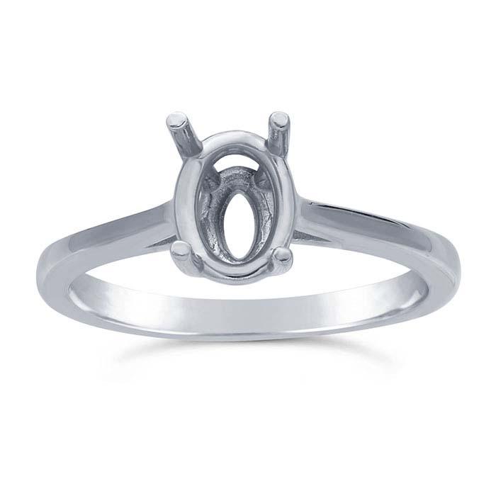 14K White Gold 8 x 6mm Oval Basket Ring Mounting