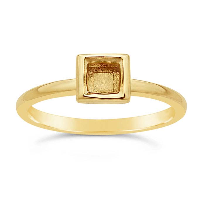 14K Yellow Gold 4.5mm Square Bezel Ring Mounting