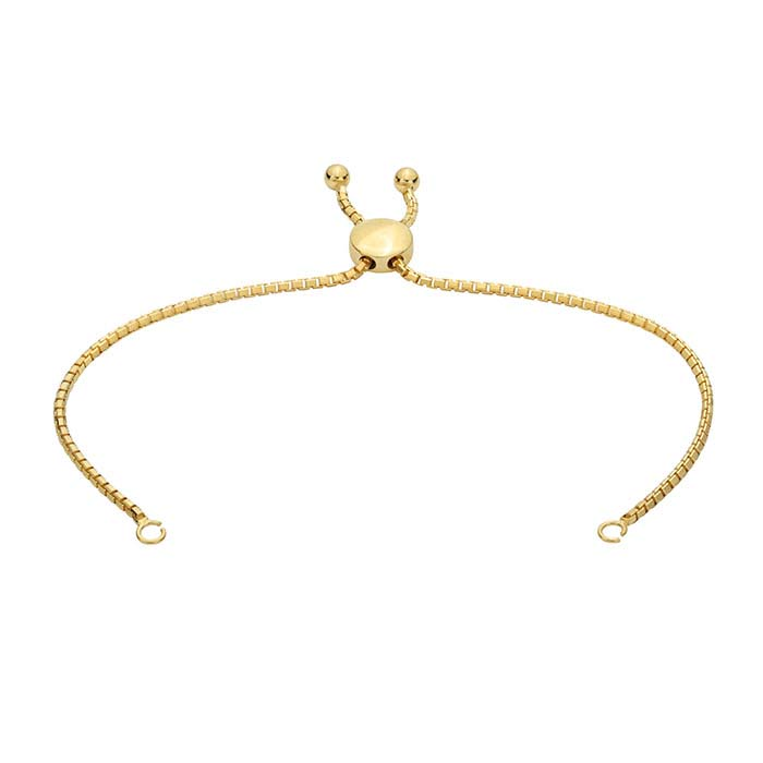 14K Yellow Gold 1.8mm Beveled Box Chain Bracelet Component, Adjustable