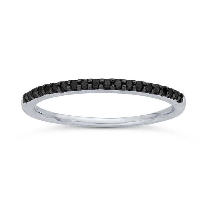 14K White Gold Black Diamond-Set Band