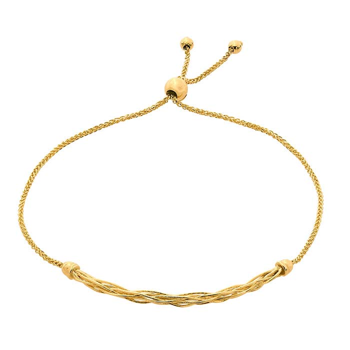 14K Yellow Gold Woven Bar Bracelet, Adjustable