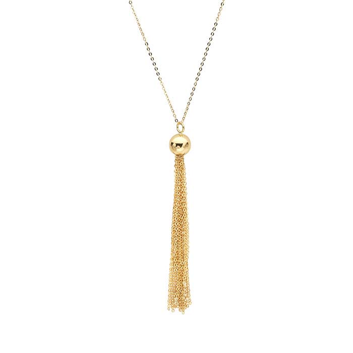 14K Yellow Gold Necklace with Tassel
