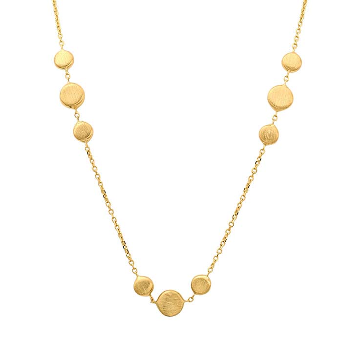 14K Yellow Gold Necklace with Flat Bead Accents
