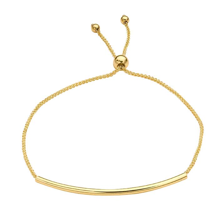 14K Yellow Gold Wheat Chain with Tube Bead Bracelet, Adjustable