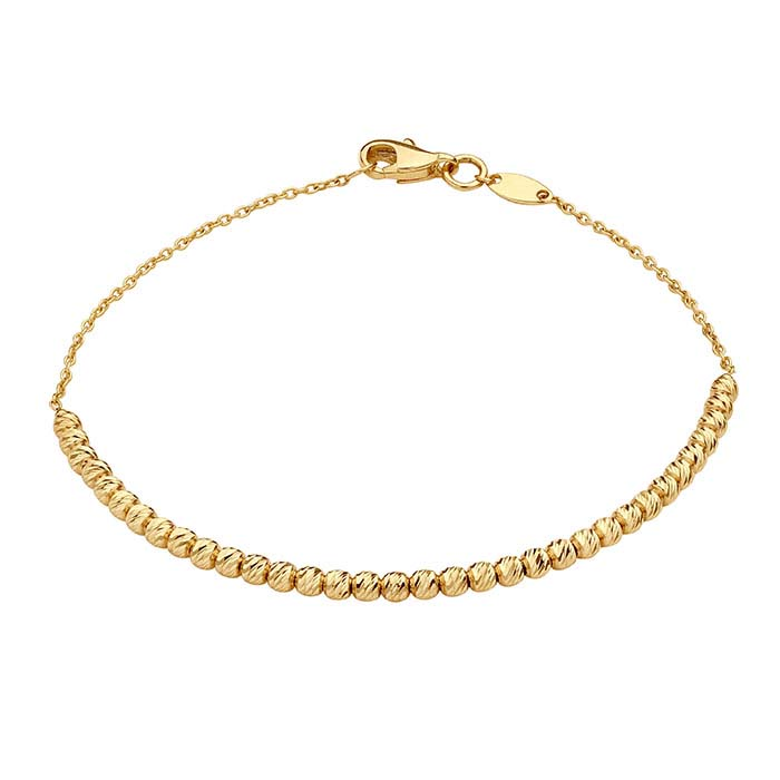 14K Yellow Gold Bracelet with Diamond-Cut Beads