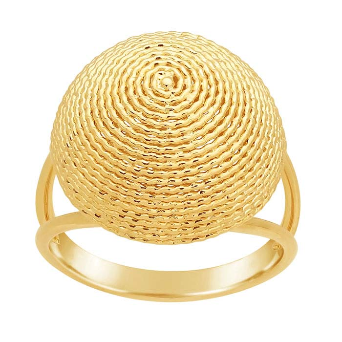 14K Yellow Gold Swirl Round Dome Ring