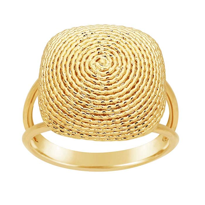 14K Yellow Gold Swirl Square Dome Ring