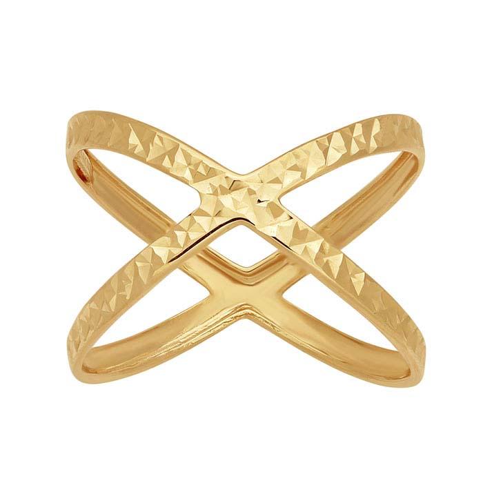 14K Yellow Gold X-Shank Ring