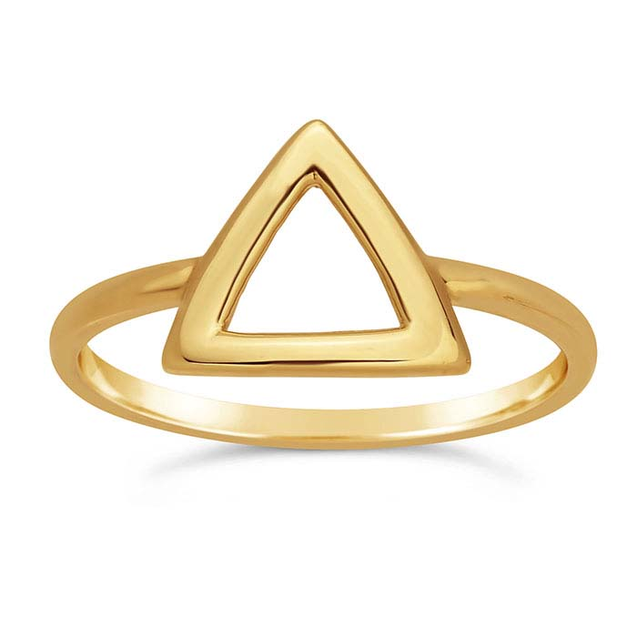 14K Yellow Gold Open Triangle Ring