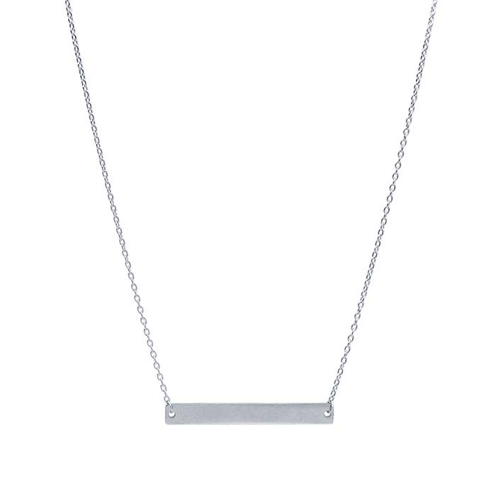 14K White Gold Rectangle Bar Festoon Necklace