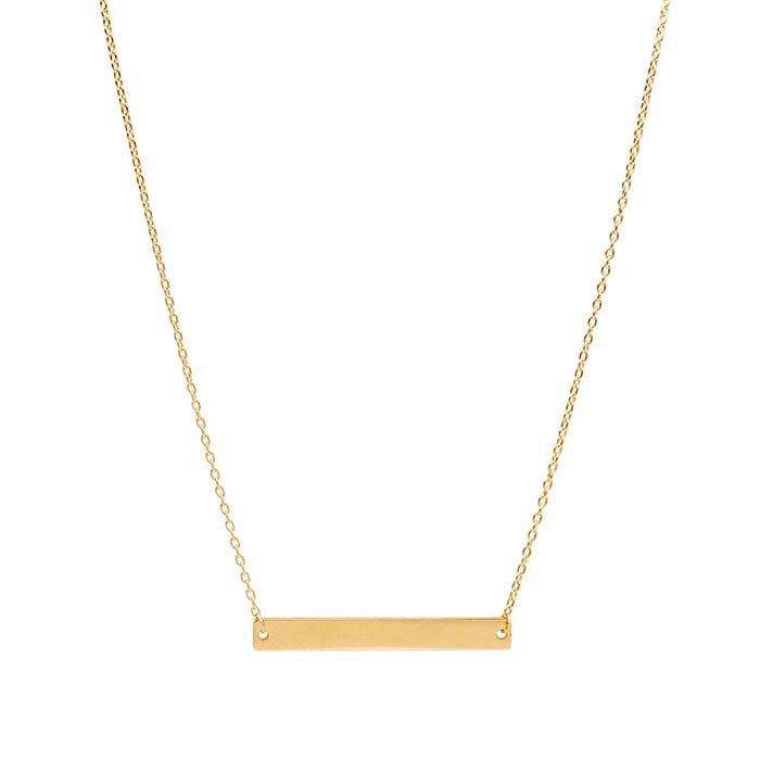 14K Yellow Gold Rectangle Bar Festoon Necklace