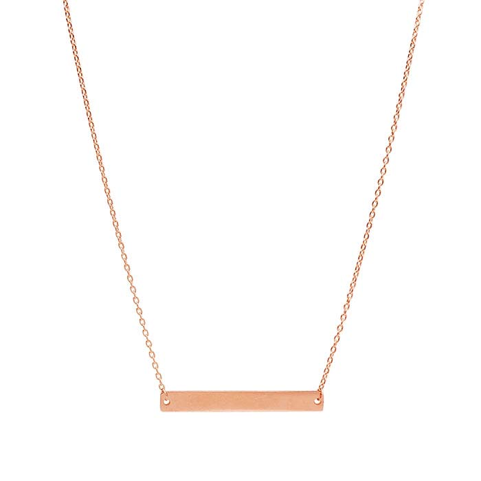 14K Rose Gold Rectangle Bar Festoon Necklace