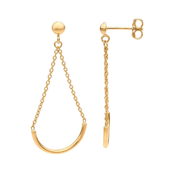 14K Yellow Gold Half-Ball Post Earrings with Half-Circle Chain Dangle