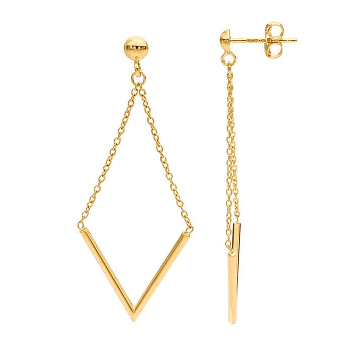 "14K Yellow Gold Half-Ball Post Earrings with ""V"" Chain Dangle"