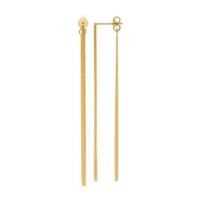 14K Yellow Gold Front-Back Post Earrings with Beading Chain Tassel