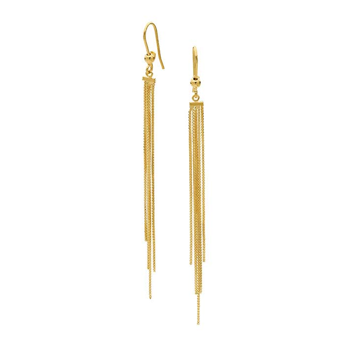 14K Yellow Gold Ear Wires with Bead and Tassel