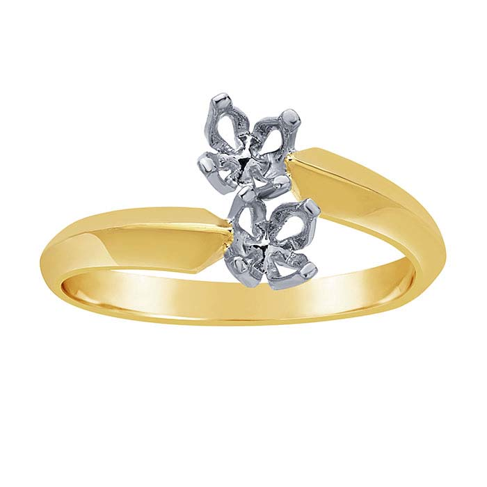 14K Yellow Gold Bypass Two-Stone Ring Mounting