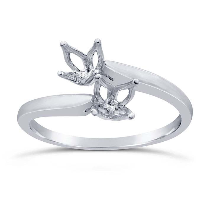 14K White Gold Bypass Two-Stone Ring Mounting