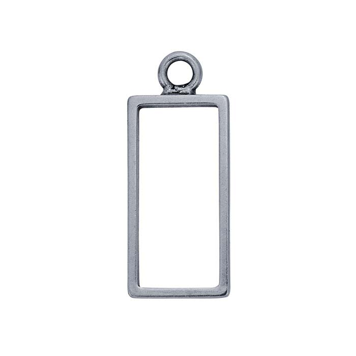 Brass Silver-Plated Oxidized Open Rectangle Pendant Components