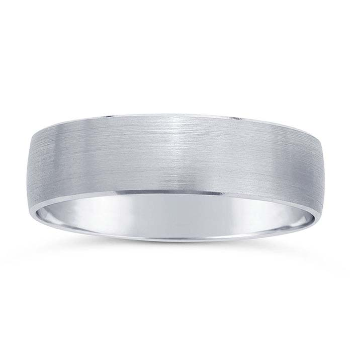 14K White Gold 5.8mm Brushed Beveled-Edge Wedding Bands