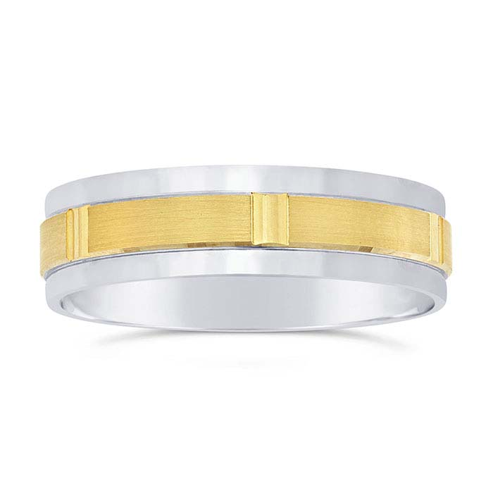14K White Gold 5.8mm Wedding Bands with 14K Yellow Gold Center