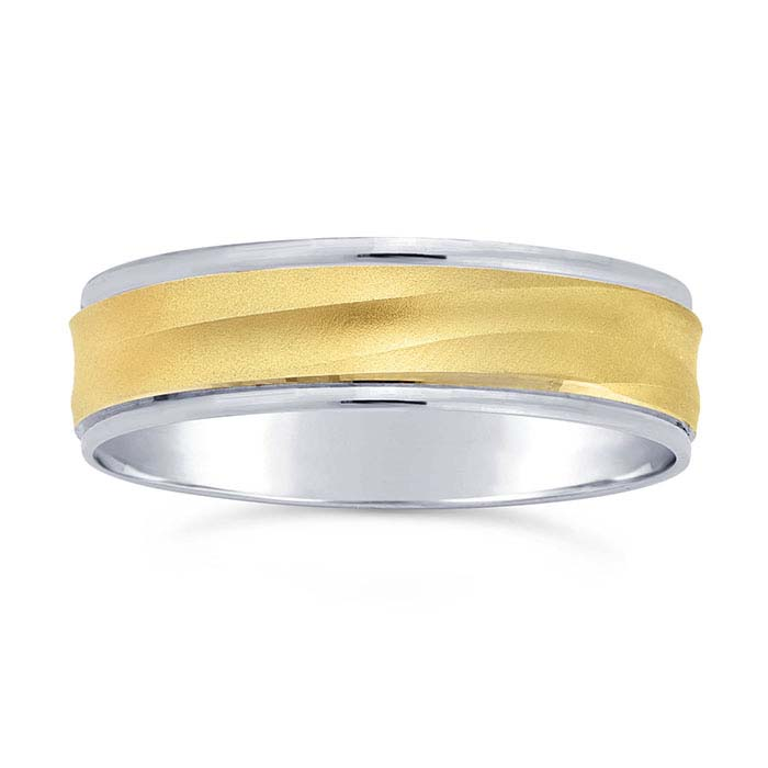 14K White Gold 5.8mm Wave Wedding Bands with 14K Yellow Gold Center