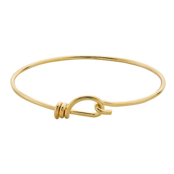 Brass Yellow Gold-Plated Hook & Eye Bangle Bracelet