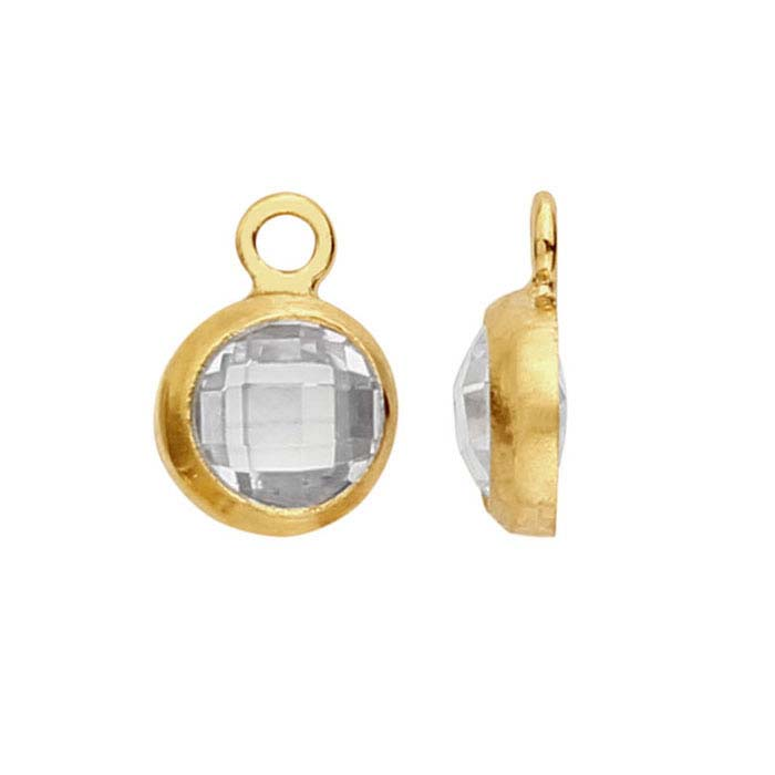 14/20 Yellow Gold-Filled Round Checkerboard White CZ-Set Component