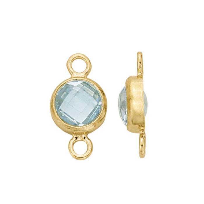 14/20 Yellow Gold-Filled Round Checkerboard Light Blue CZ-Set Link Component