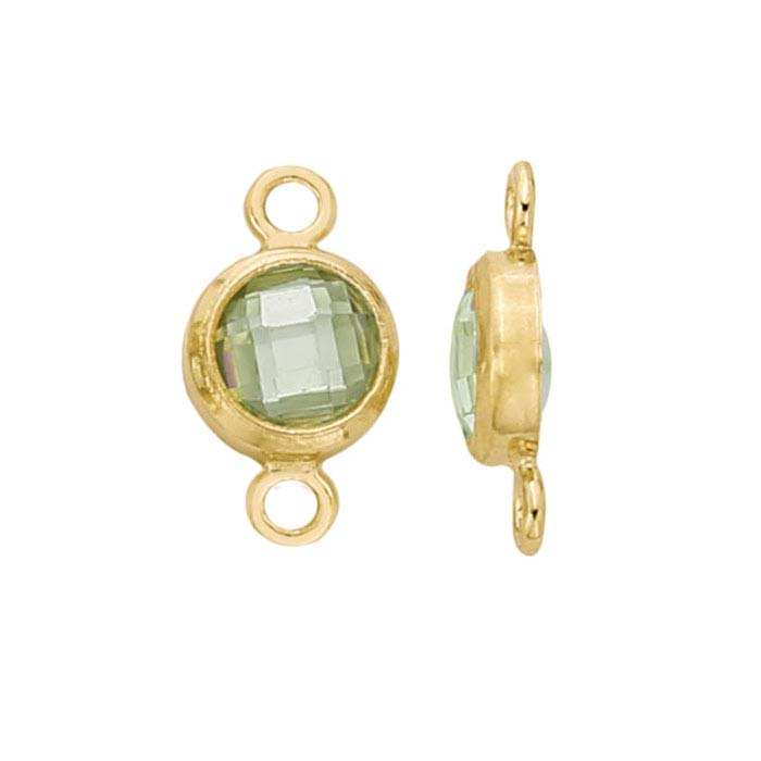 14/20 Yellow Gold-Filled Round Checkerboard Lime Green CZ-Set Link Component