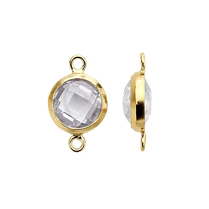 14/20 Yellow Gold-Filled Round Checkerboard White CZ-Set Link Component