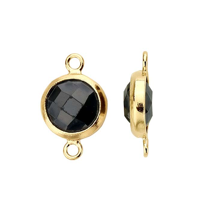 14/20 Yellow Gold-Filled Round Checkerboard Black CZ-Set Link Component