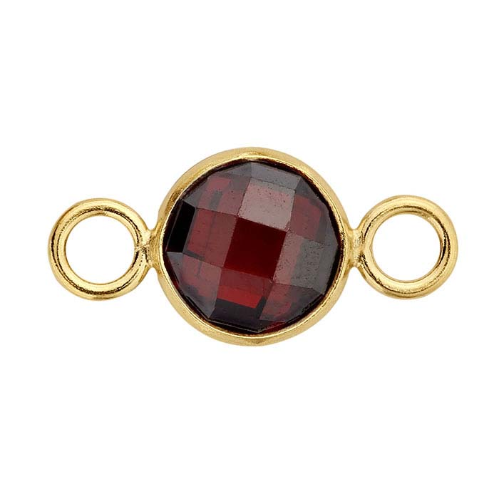 14/20 Yellow Gold-Filled Round Checkerboard Red CZ-Set Link Component