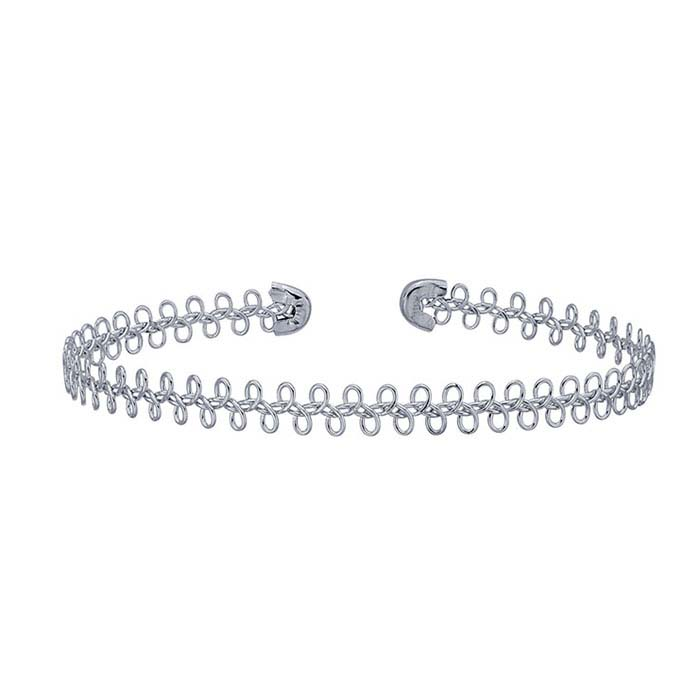 Steel Sterling Silver-Plated Loops Cuff Bracelet