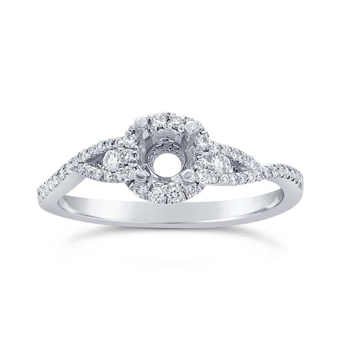 Platinum .25-Ct. Round Semi-Mount Halo Engagement Ring Mounting