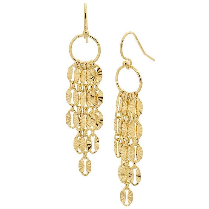 14/20 Yellow Gold-Filled Chain Tassel Earrings