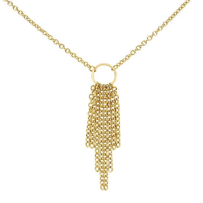 14/20 Yellow Gold-Filled Cable Chain Tassel Necklace